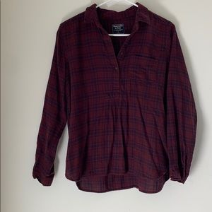 Plaid Partial Button Up Shirt